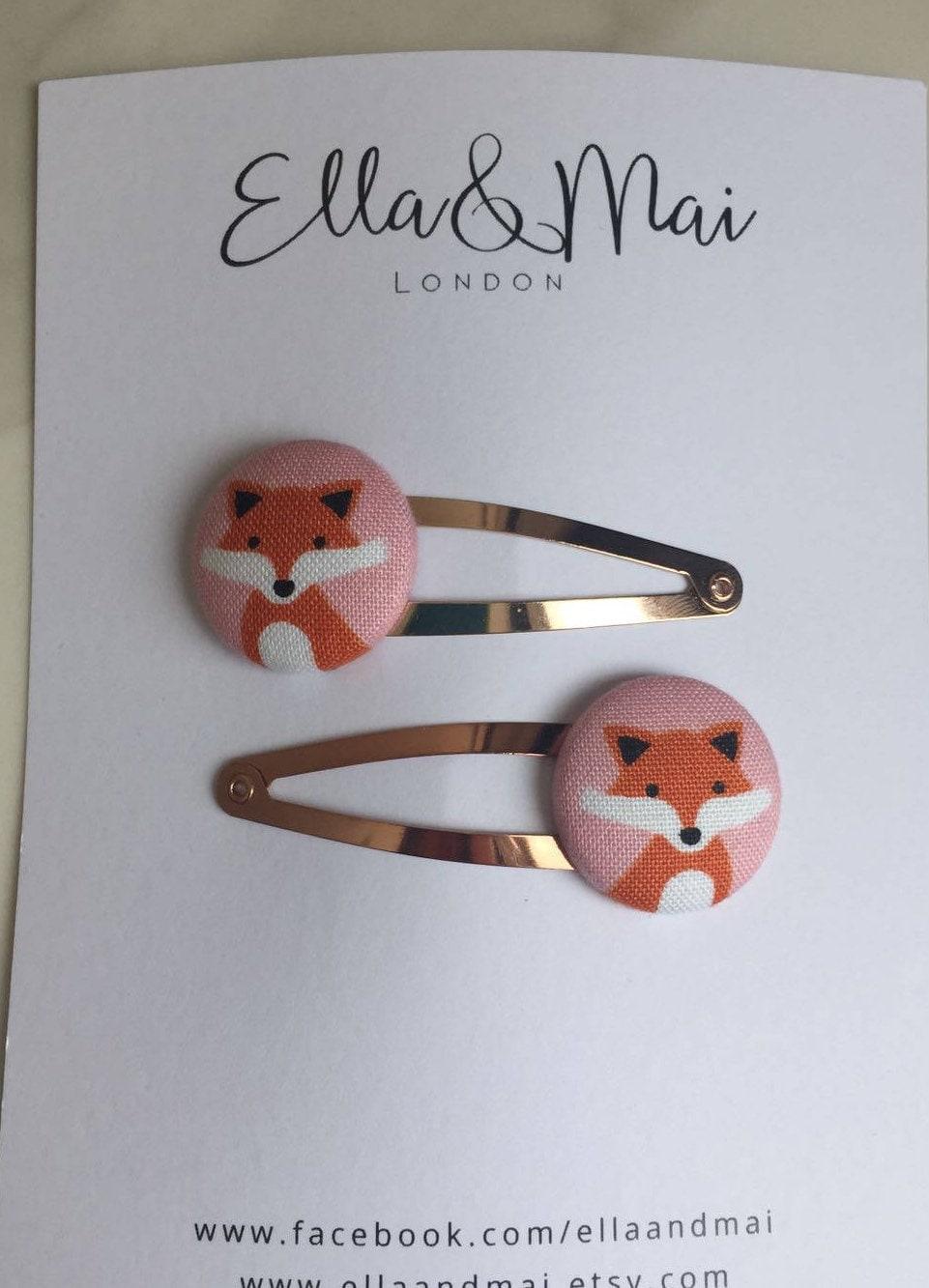 Girls Hair clip Fox Hair Clips Woodland Animal clips Fox slides children hair accessories