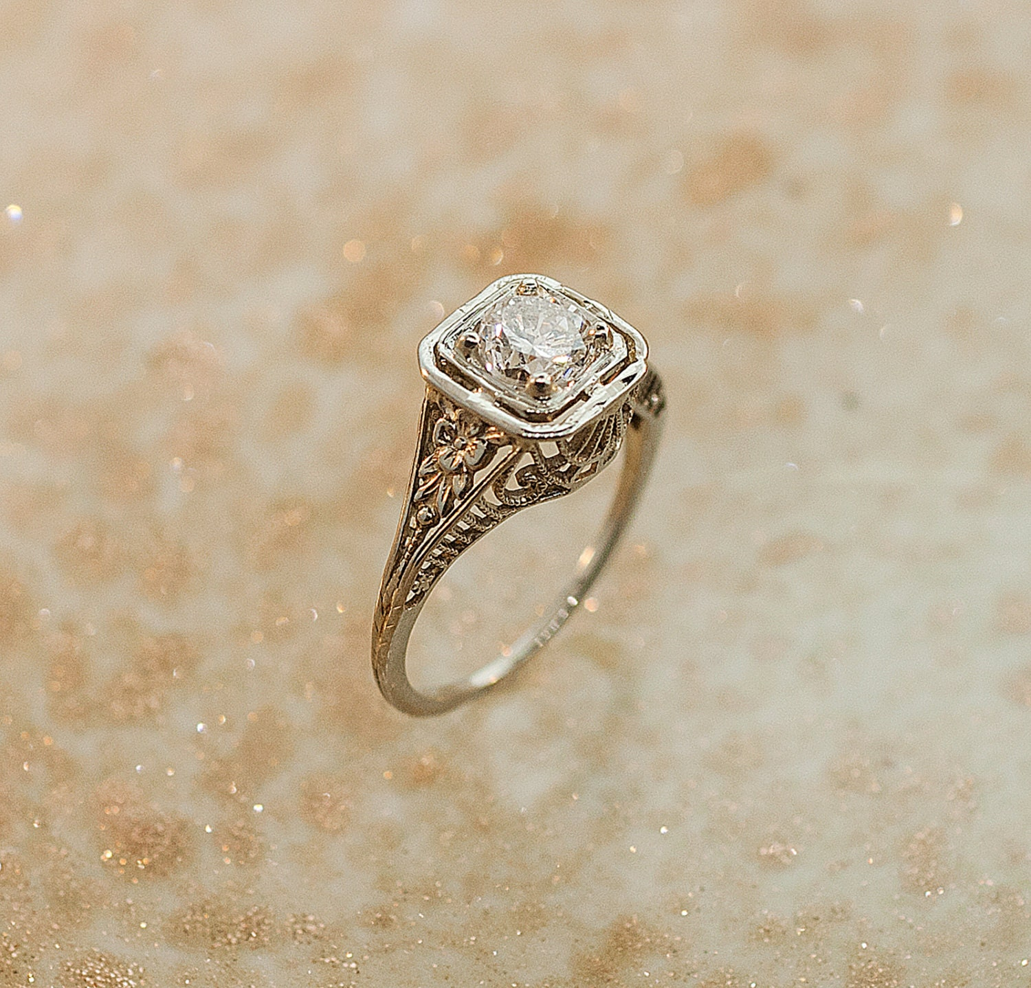 Antique Filigree Diamond Engagement Ring 14K by SITFineJewelry