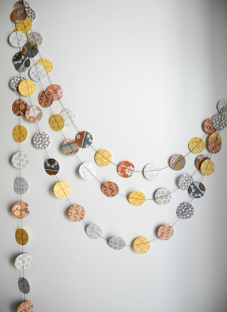 Colorful circle paper garland, brown yellow grey party decor, home decor, birthday party garland - HoopsyDaisies