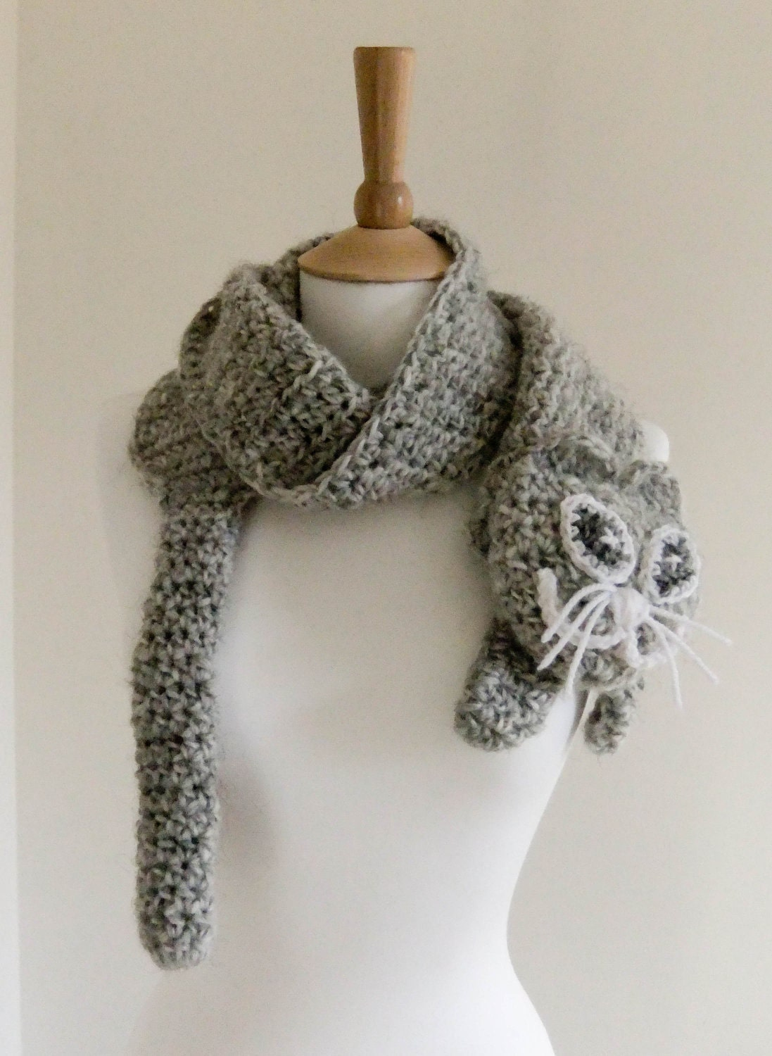 Crochet Patterns Neck Scarves : PDF CROCHET PATTERN Scarf Kitty cute cat grey gray neck warmer Neck ...