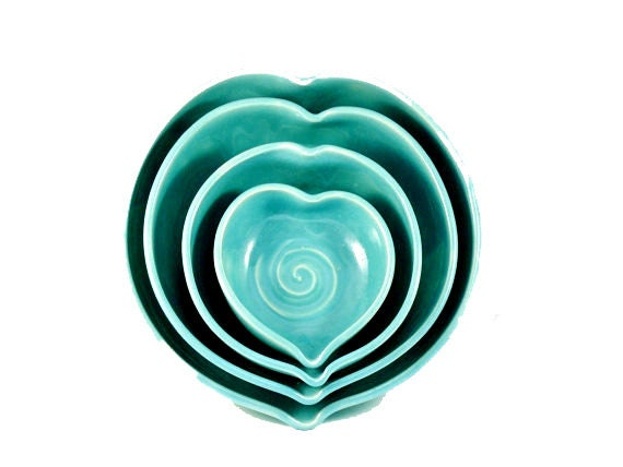 Romantic Blue Ceramic Nesting Heart Bowls READY TO SHIP -  Minimalist Blue heart serving bowls-  couples wedding engagement or anniversary