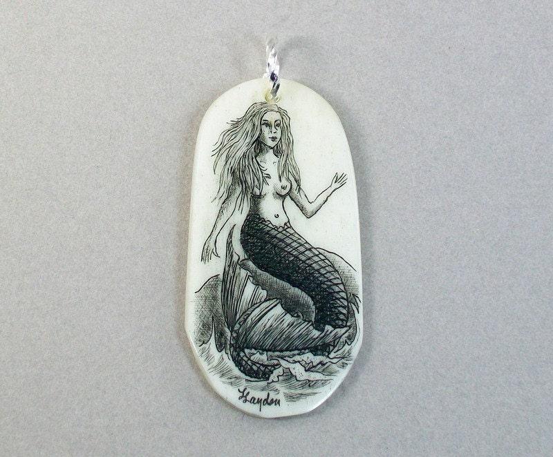 Scrimshaw Bone Mermaid Pendant - lindalayden