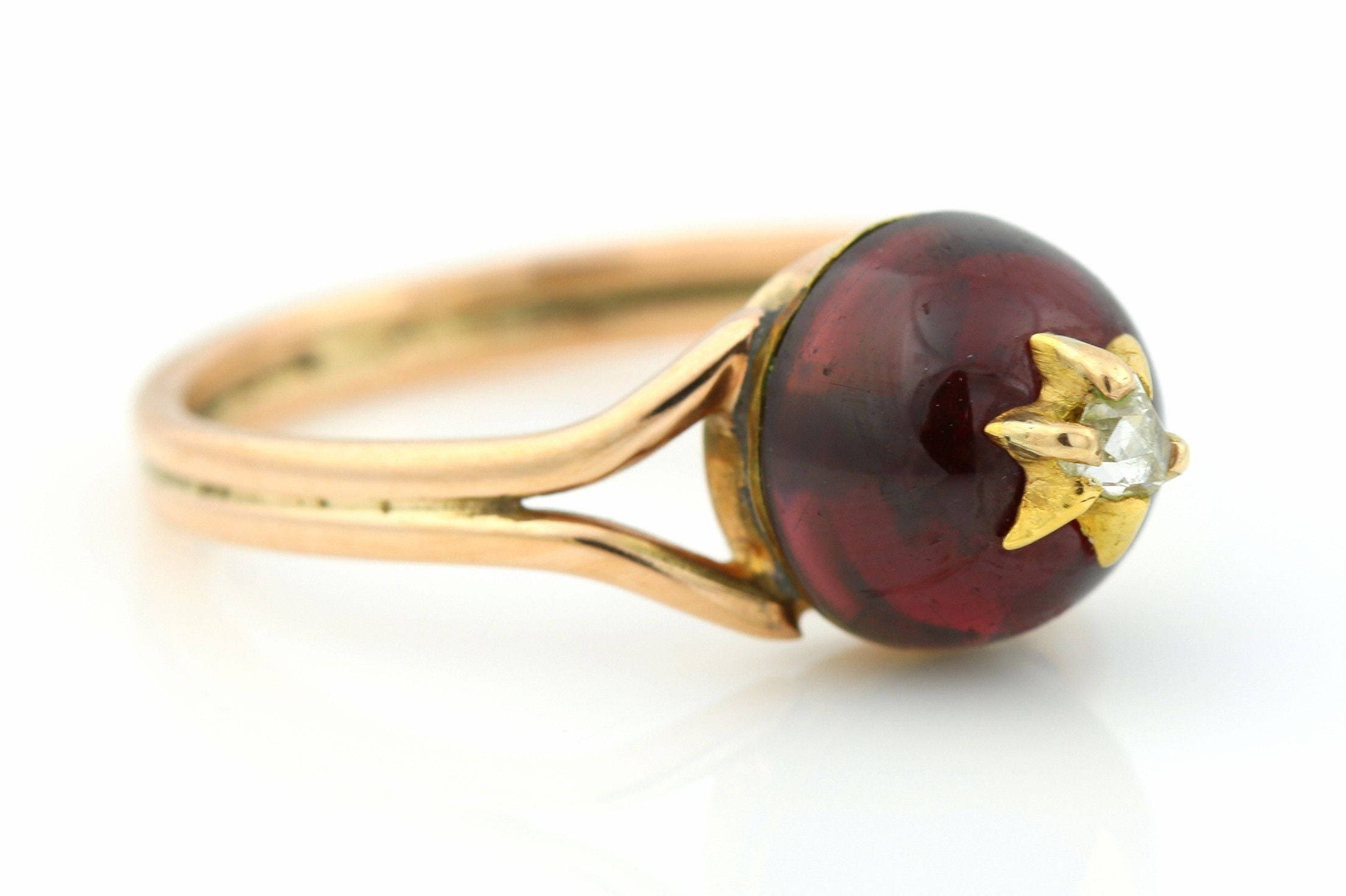 ON LAYAWAY for E Antique 9ct Gold Garnet  Diamond Ring Victorian Garnet and Diamond Ring Circa 1840 Antique Garnet Cabochon Ring