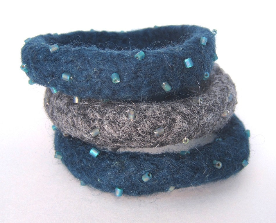 Knitted, Felted and Beaded Deep Sea Blue Teal and Gray Bangle Bracelets -- Don't go wacko - AmyDidIt