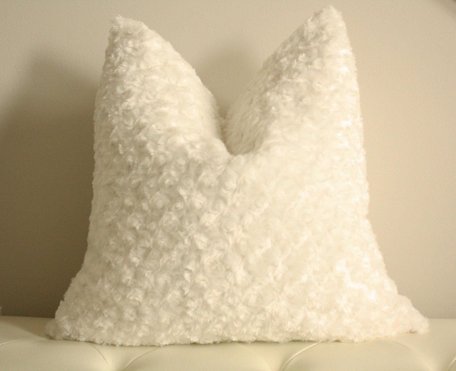 Unavailable listing on etsy for White faux fur pillow