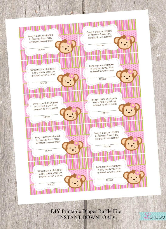 baby shower diaper raffle for monkey girl diy by lollipopink