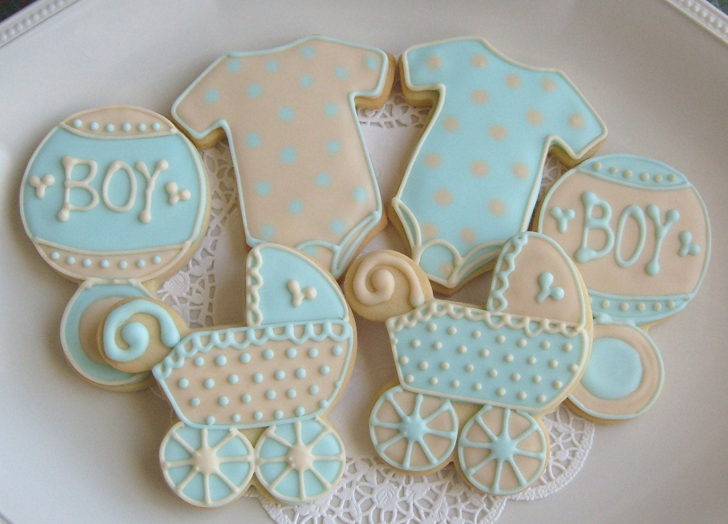 blue and ivory baby shower cookie favors baby by lorisplace