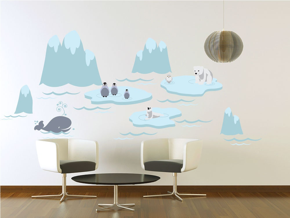 Vinyl Wall Decal - Arctic Wonderland with Whimsical Polar Animals - Extra Large Childrens Mural