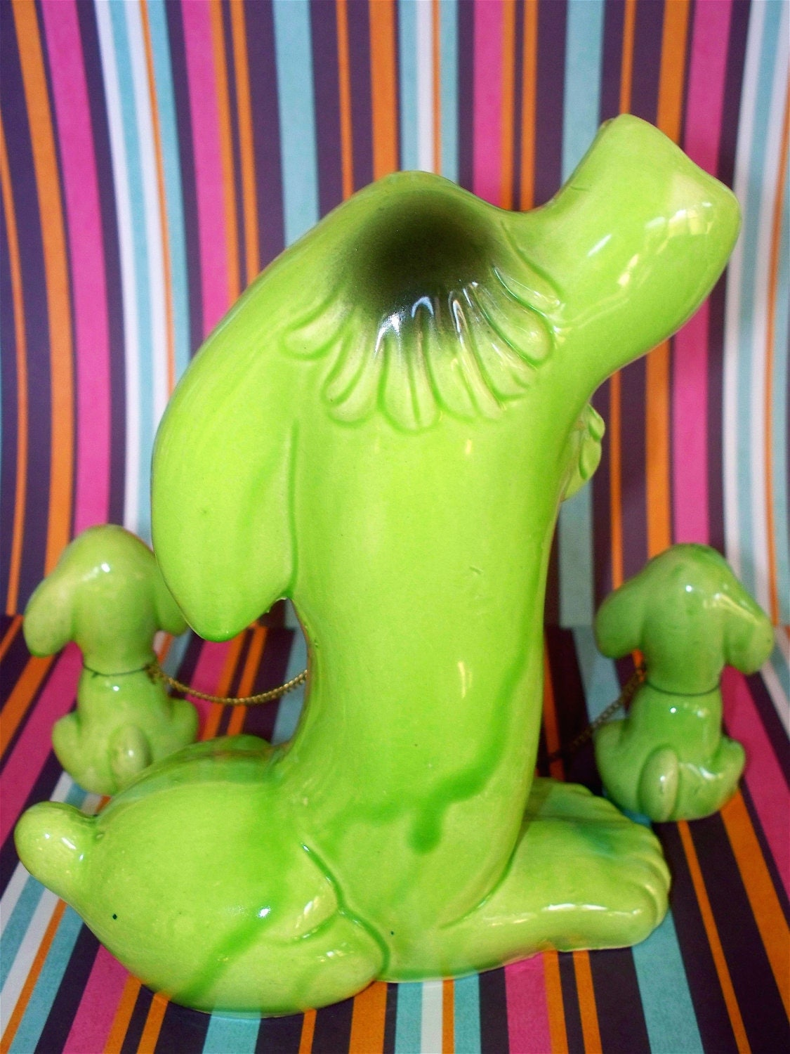Mod  Vintage Kitsch Lime Green Puppy Dog Trio Figurine Set Momma and Babies