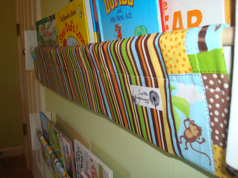 Book Storage Sling -  Patchwork Safari Jungle book storage shelf gender neutral nursery decor