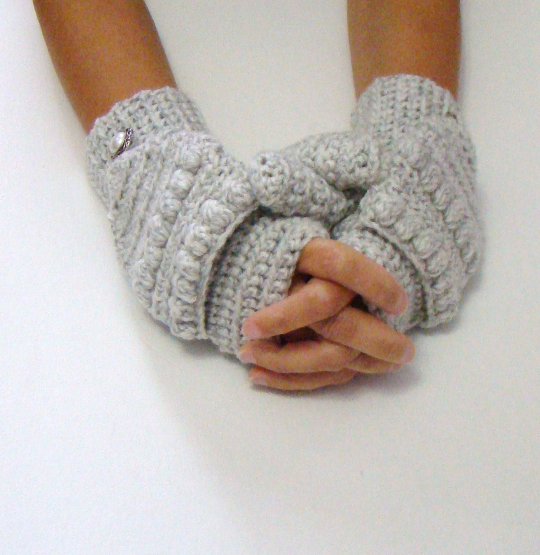 White Gray Mittens, Salt Pepper Mittens, Grey Convertible Fingerless Mittens, Crochet Texting Mittens, Cycling Gloves, Fall Fashion - CreativeEndeavorsKS