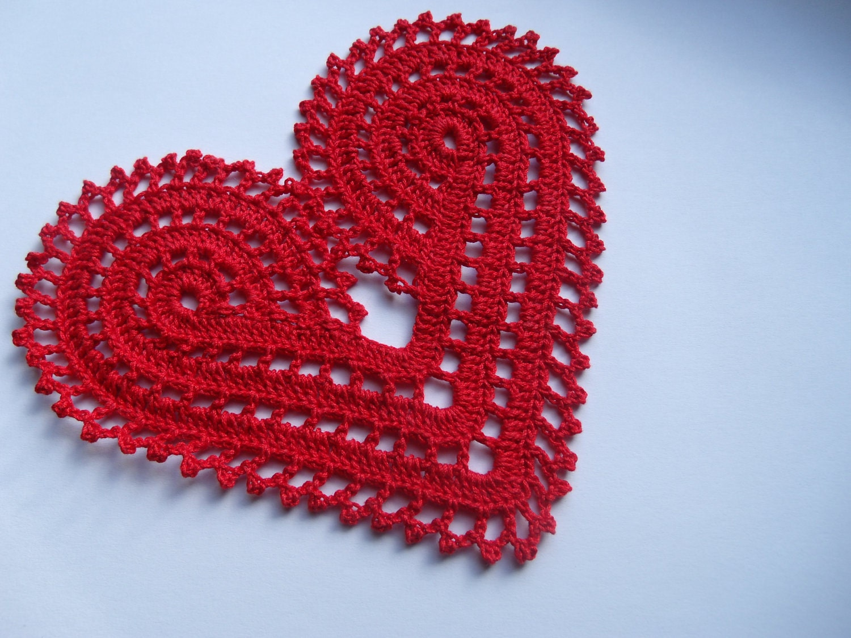 Crochet Patterns For Hearts : Easy Crochet Heart Doily