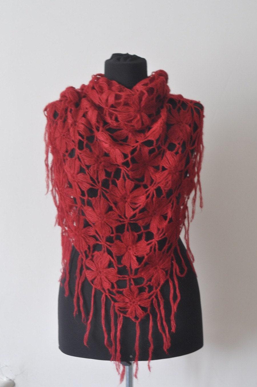 دستباف سرخ موی مرغوز توری مثلث شال شال / لباس عروس / کریسمس هدیه