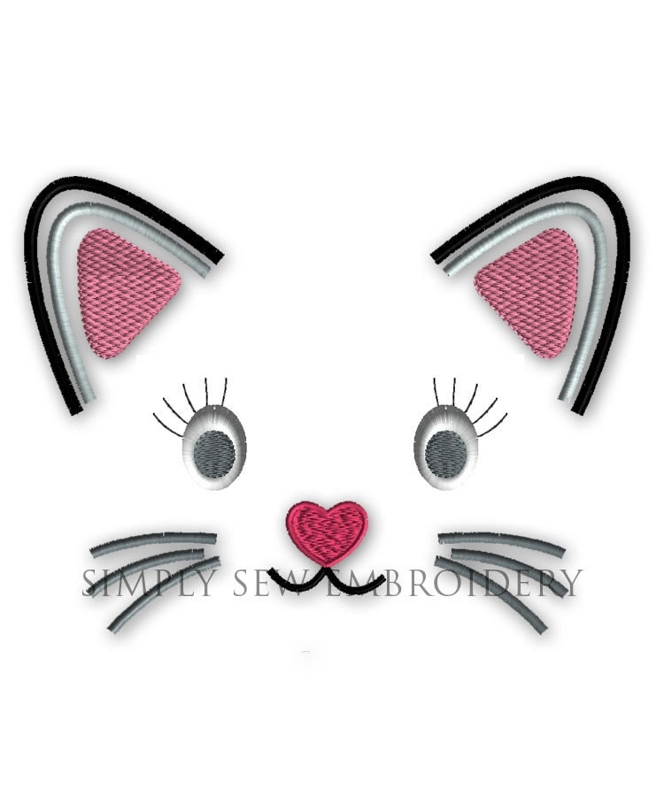 Cat Face Applique Girl Or Boy Embroidery By