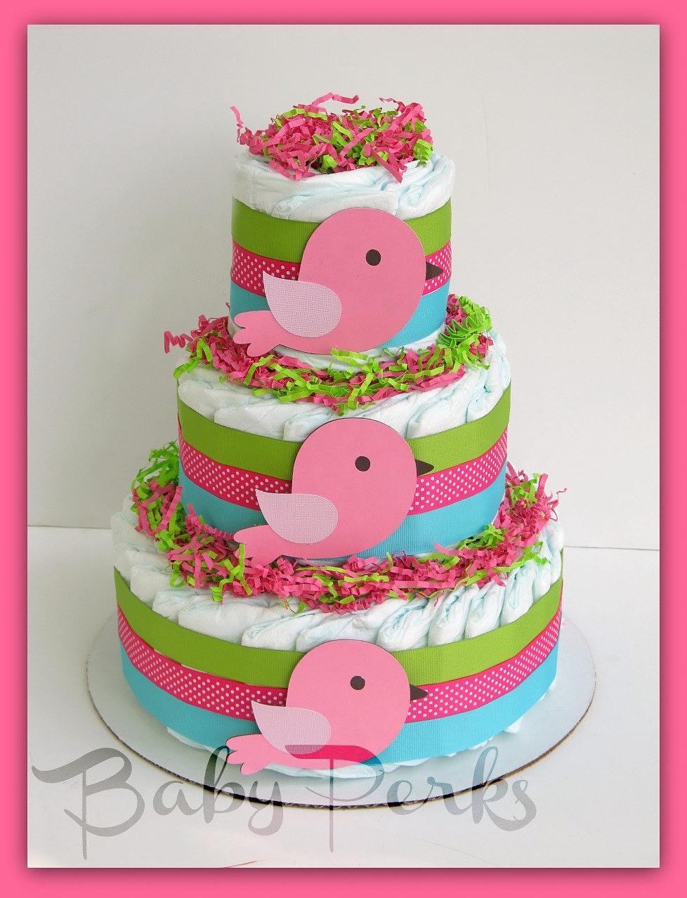 Bird diaper cake baby shower decorations bird baby by msperks for Baby diaper cake decoration