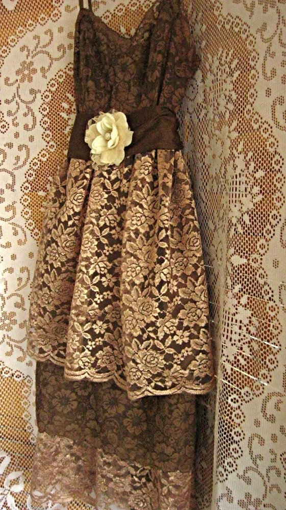 Brown lace dress bridesmaid dress mocha chocolate by for Brown lace wedding dress