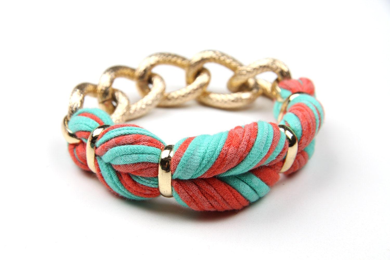 Spring Jewelry - Braided Bangle Bracelet - Salmon Orange Mint - Braid Bracelet- Spring Fashion Summer Jewelry Fashion Christmasinjuly CIJ