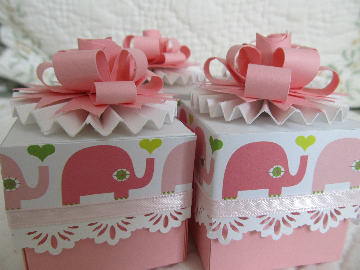items similar to 4 baby shower girl thank you birthday favor boxes