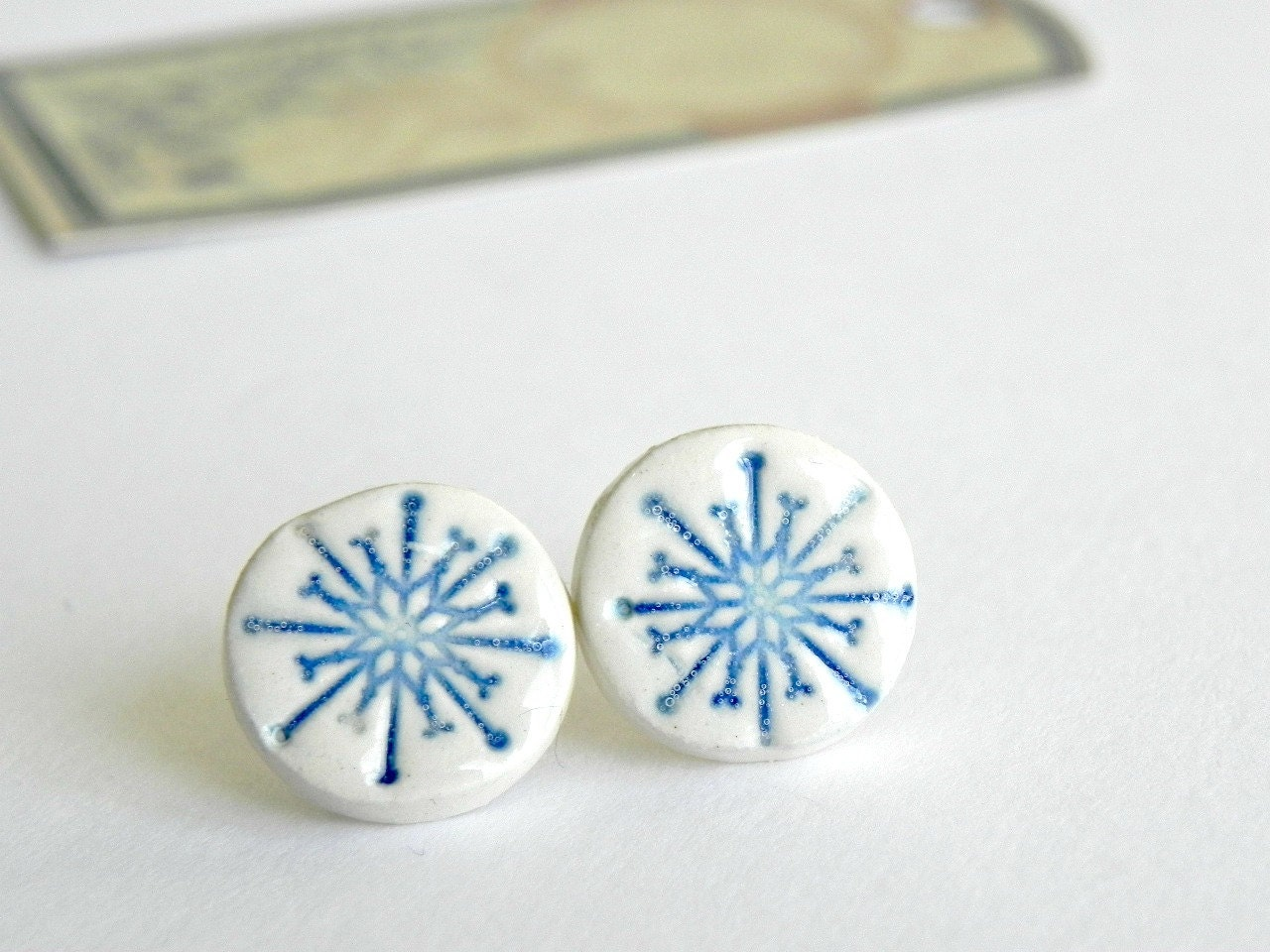 Ceramic Post Earrings Pottery White and Blue Shiny Studs - Ceraminic