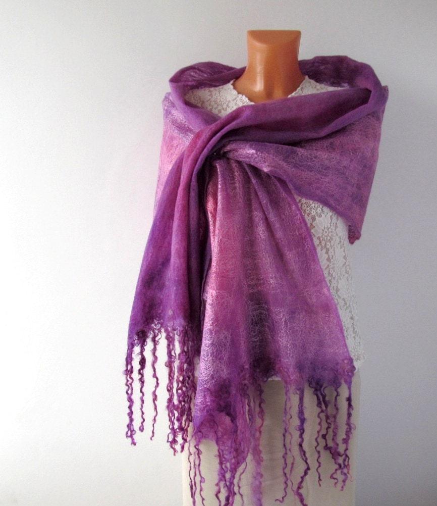 Cobweb Felted scarf -  Lavender purple amethyst  Pink - galafilc