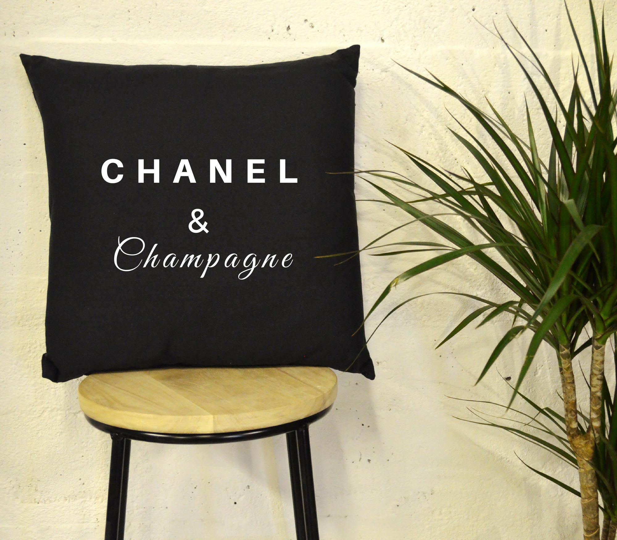 Chanel  Champagne Black and White Monochrome Pillow Cushion Birthday Present Chanel Designer Style High Fashion