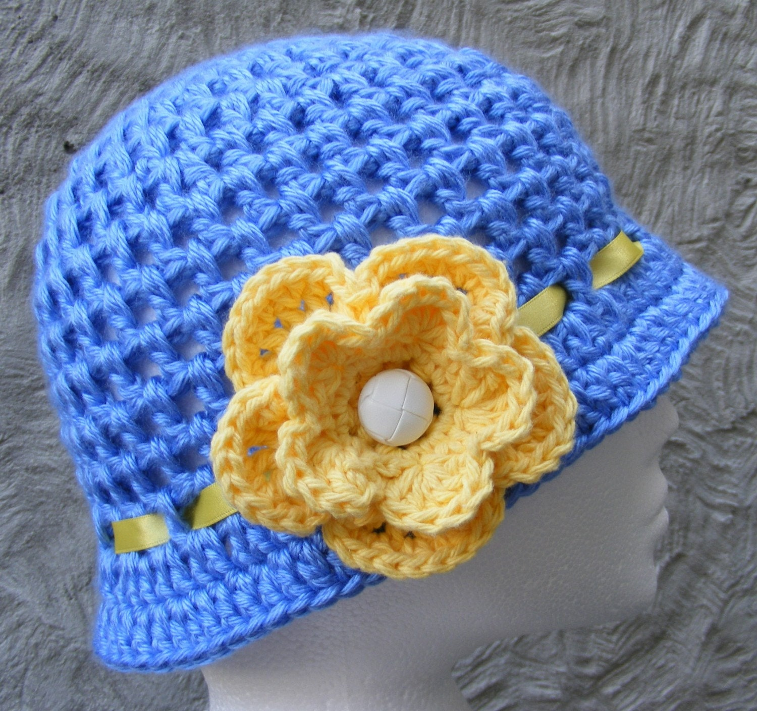 Items similar to HAT Crochet Pattern with Flower and Ribbon Detail ...