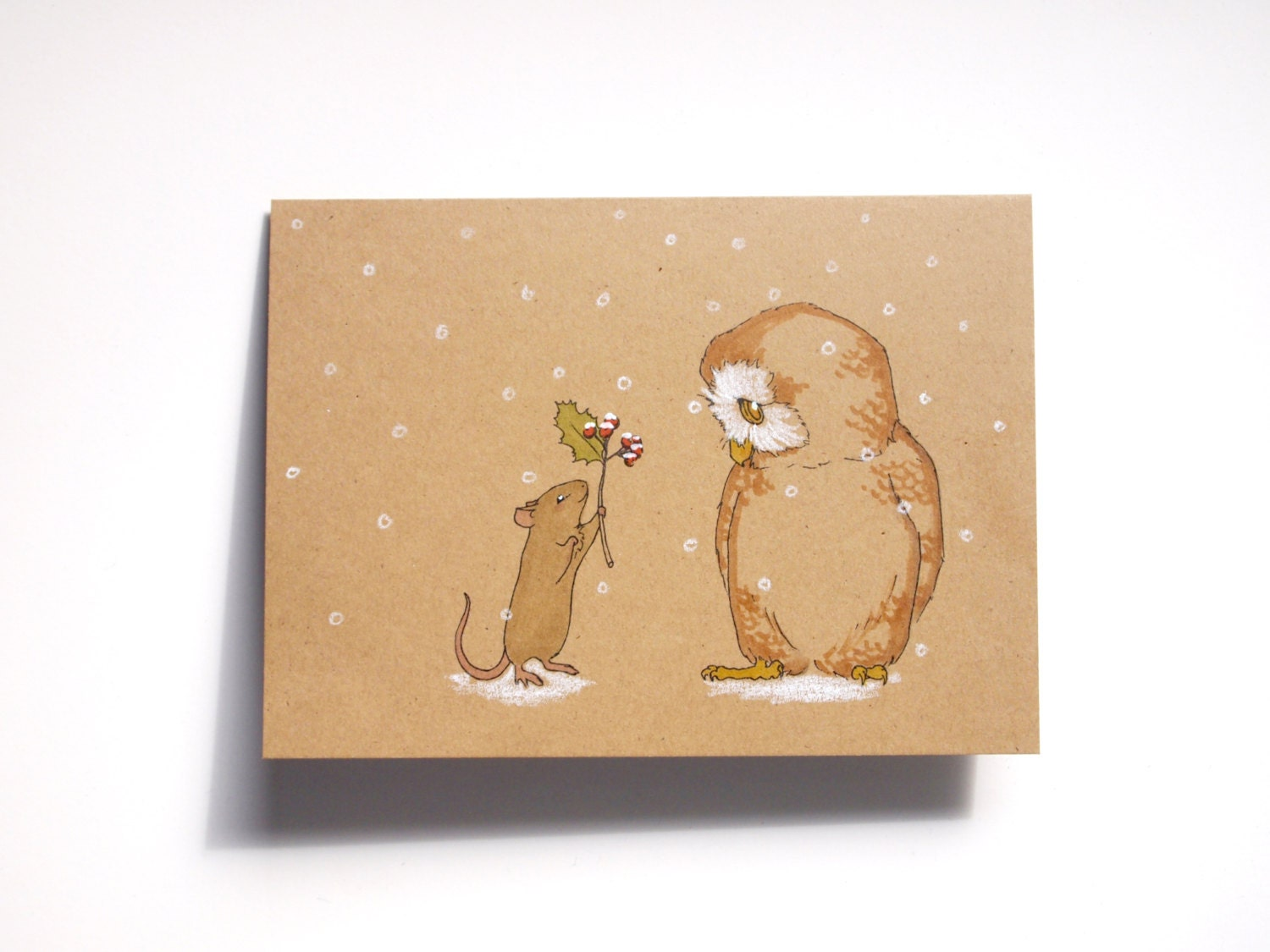 Hand Painted Rustic Christmas Card Set on Recycled Paper - ABunnyandBear