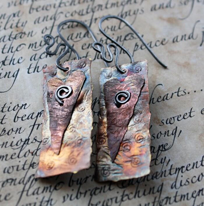 Primitive Heart Rustic Copper Earrings - eccentricsunshyne