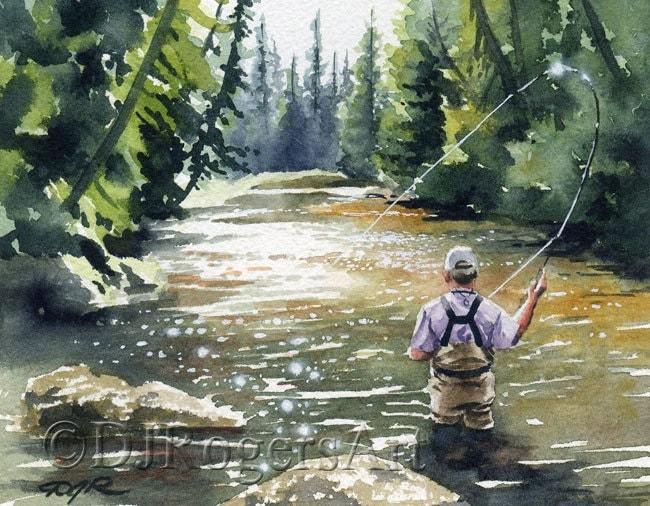 Hooked up ii fly fishing art print signed by by k9artgallery for Fly fishing art