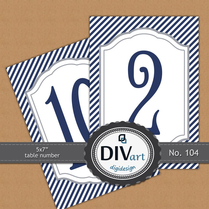 "PRINTABLE 5x7"" Table Number Cards, Menu, Program - navy, preppy, nautical - No. 104"