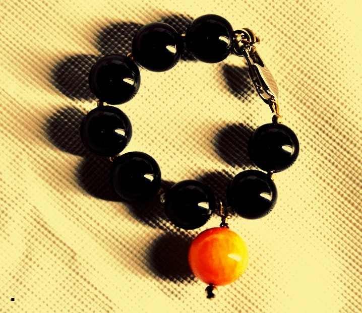 Black and Orange 12inch gem stoned Bracelet for babies - TheDEEPLagoon
