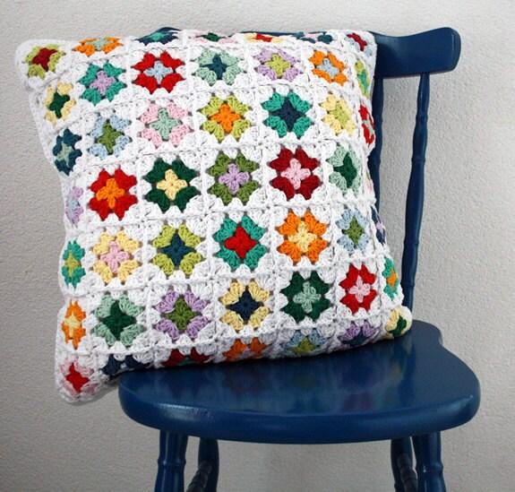 Custom crochet granny square pillow case - SoHappyInRed