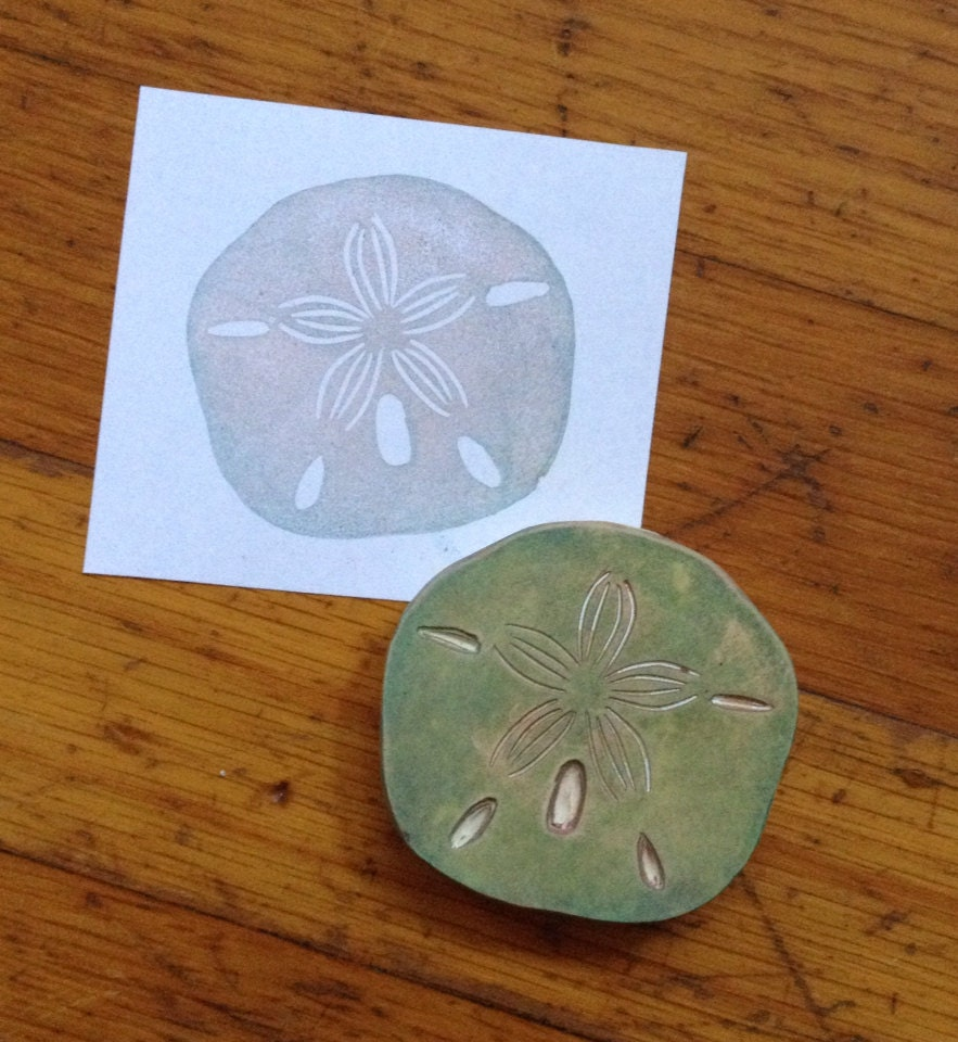 Sand dollar rubber stamp hand carved by enchantingstamps
