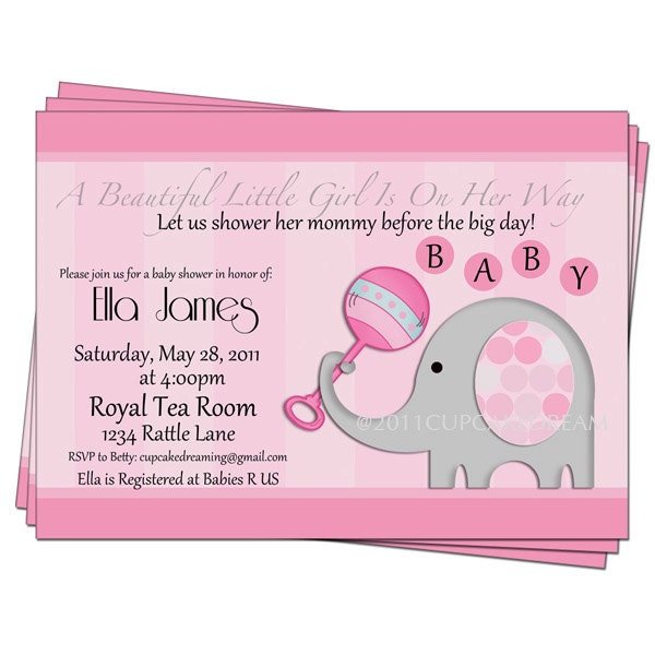 girl baby shower elephant invitations by cupcakedream on etsy