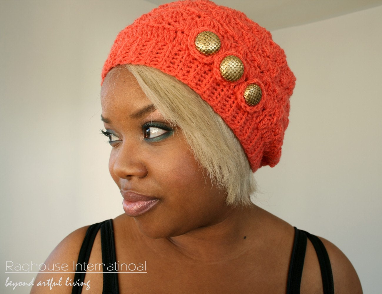 SALE Handmade Crochet Beret Coral Rose by raghousenternational