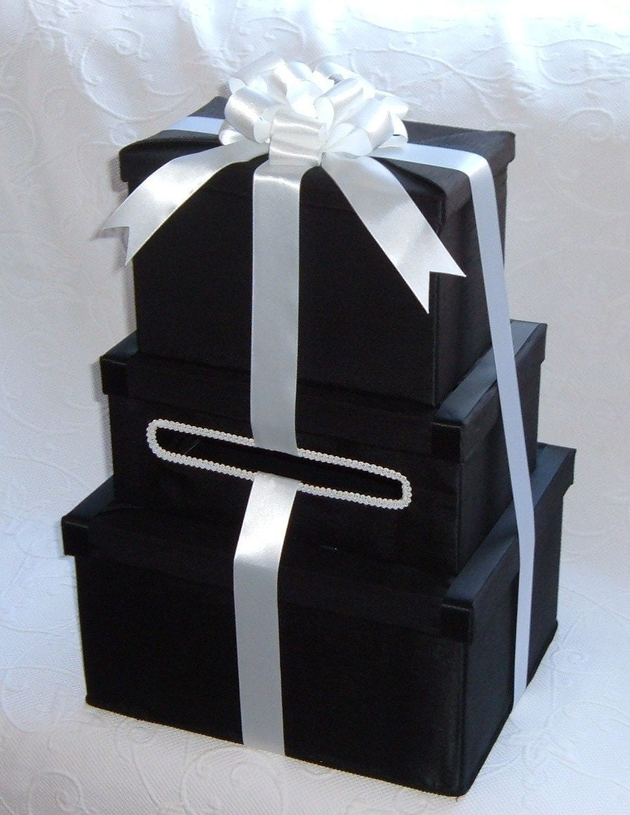 Black And White Wedding Gift Card Box : ... Black and White TUXEDO Wedding Card Money Box Three Package Box