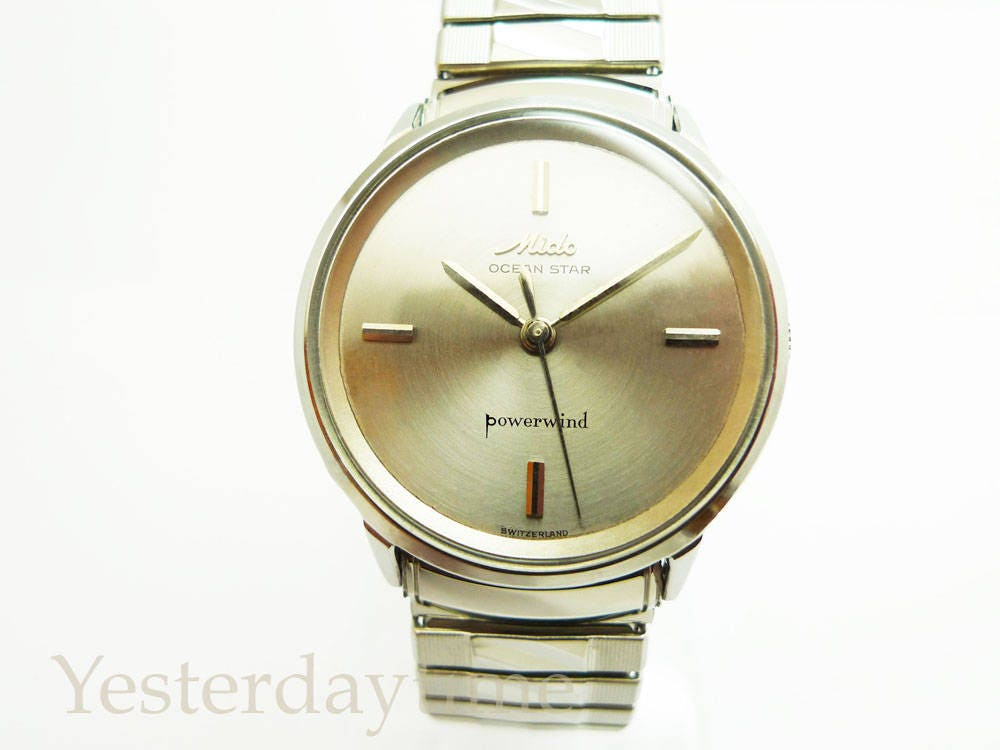 Mido Ocean Star Powerwind Mens Watch Early 1960s Silver Dial Swiss Made 17 Jewel Automatic Movement Stainless Steel Case