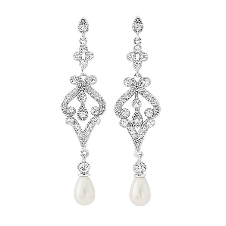 Glam Vintage style Ivory Droplet Pearl Earrings bridal ear rings prom earrings bridal accessories bridal jewellery