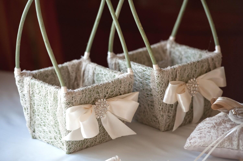 Flower Girl Basket Wedding Basket Rustic Shabby By LuckyYouLuckyMe
