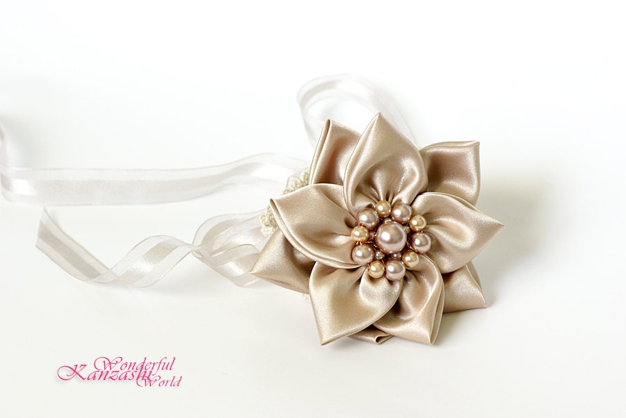 Crochet Vintage Leaf Wedding Bridal Bracelet Beige Champagne Kanzashi Fabric Flower - wonderfulkanzashi