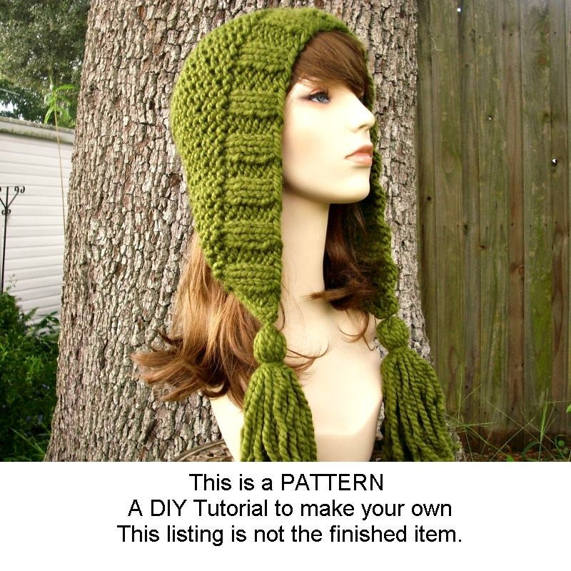 Knitting Pattern - Knit Hat Knitting Pattern PDF for Tassel Hat - Winter Fashion Winter Accessories Chunky Knit