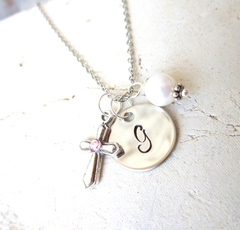 Girl's Baptism Gift. Children's Birthstone Cross by ...