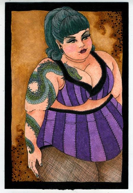 Roxy fat girl tattoo 6x9 print by ladyatlarge on etsy for Chubby tattooed girls