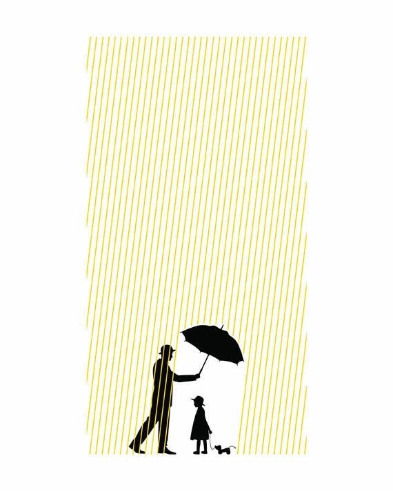 Digital Art Print 8x10 Poster Little Girl In The Sun Umbrella - SquidInkLab