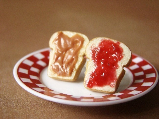 Peanut Butter Sandwich Earrings with Grape Jelly