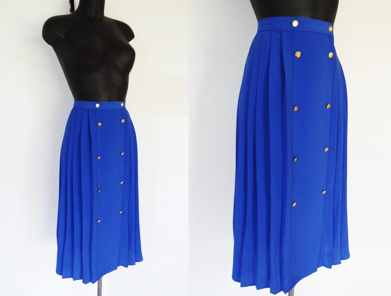 UK10 80s Skirt Blue Skirt Boho Secretary Skirt Midi Skirt Buttoned Skirt Pleated Skirt Vintage Skirt