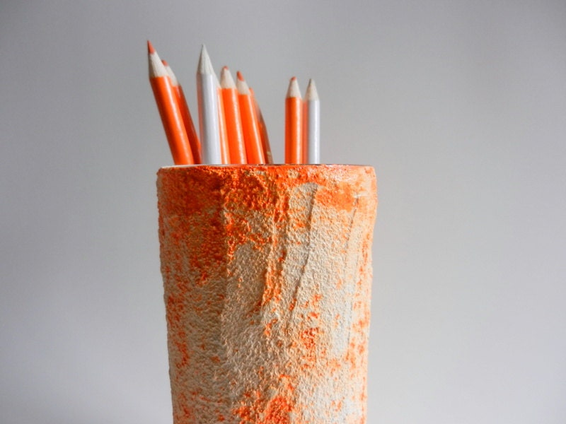 Rustic pencil holder / orange office decor / made to order / orange and white /  painted pencil cup - CarriageOakCottage
