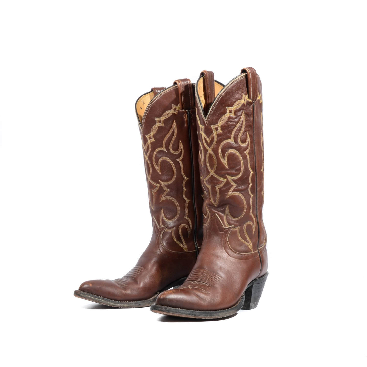 Women s tony lama black label cowboy boots brown leather western
