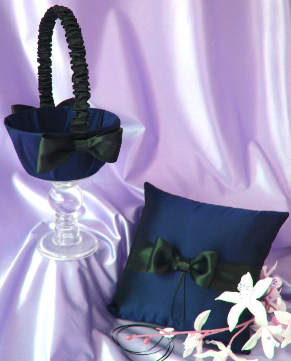 Navy Blue and Black Wedding Accessories Flower Girl Basket and Ring Bearer