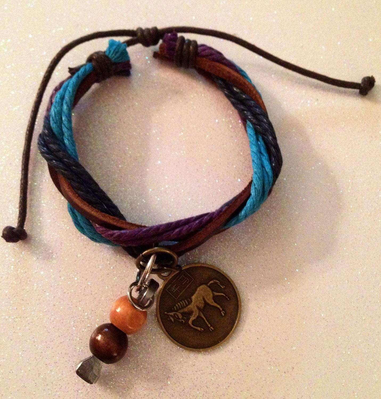 YEAR of the HORSE Cowgirl leather/hemp horseshoe nail bracelet. - BitsNPieces4Horses